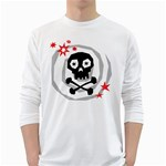 Spiral Skull White Long Sleeve T-Shirts