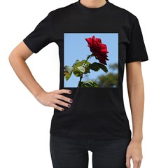 Red Rose 2 Women s T Shirt (black) (two Sided) by trendistuff