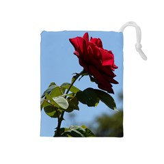 Red Rose 2 Drawstring Pouches (medium)  by trendistuff