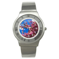 Pink Flowers Stainless Steel Watches by trendistuff