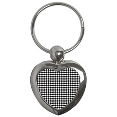 Black And White Scallop Repeat Pattern Key Chains (heart)  by PaperandFrill
