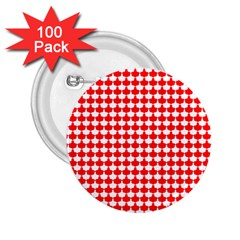 Red And White Scallop Repeat Pattern 2 25  Buttons (100 Pack)  by PaperandFrill