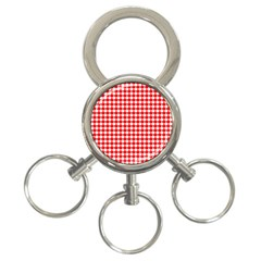 Red And White Scallop Repeat Pattern 3 Ring Key Chains by PaperandFrill