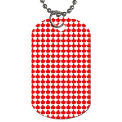 Red And White Scallop Repeat Pattern Dog Tag (two Sides) by PaperandFrill