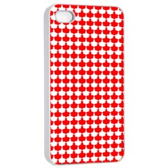 Red And White Scallop Repeat Pattern Apple Iphone 4/4s Seamless Case (white)