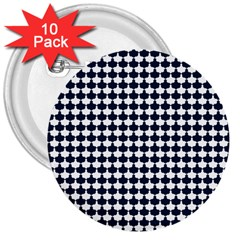 Navy And White Scallop Repeat Pattern 3  Buttons (10 Pack)  by PaperandFrill