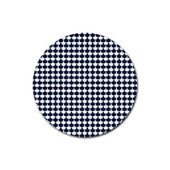 Navy And White Scallop Repeat Pattern Rubber Coaster (Round)  by PaperandFrill