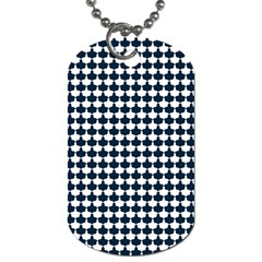 Navy And White Scallop Repeat Pattern Dog Tag (two Sides) by PaperandFrill
