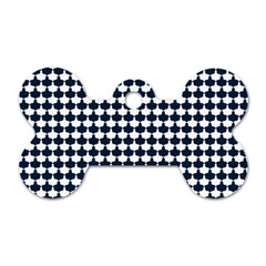 Navy And White Scallop Repeat Pattern Dog Tag Bone (two Sides) by PaperandFrill