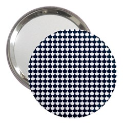 Navy And White Scallop Repeat Pattern 3  Handbag Mirrors