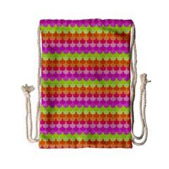 Scallop Pattern Repeat In 'la' Bright Colors Drawstring Bag (small) by PaperandFrill
