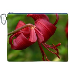 Lilium Red Velvet Canvas Cosmetic Bag (xxxl)  by trendistuff