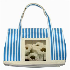 Black And White Flower Striped Blue Tote Bag  by trendistuff