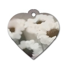 Black And White Flower Dog Tag Heart (two Sides) by trendistuff