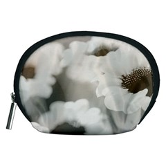 Black And White Flower Accessory Pouches (medium)  by trendistuff