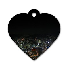 SEOUL NIGHT LIGHTS Dog Tag Heart (Two Sides) by trendistuff