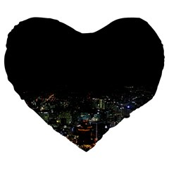 Seoul Night Lights Large 19  Premium Flano Heart Shape Cushions by trendistuff