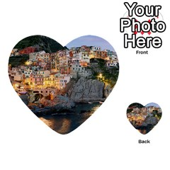 Manarola Italy Multi Purpose Cards (heart)  by trendistuff