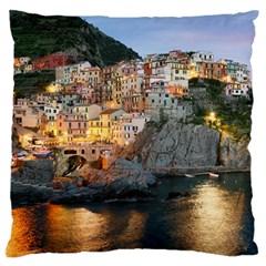 Manarola Italy Large Flano Cushion Cases (one Side)  by trendistuff