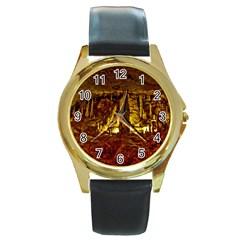 Volcano Cave Round Gold Metal Watches by trendistuff