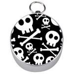 Cute Skulls Silver Compasses Front