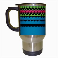 Chevrons And Triangles Travel Mug (white) by LalyLauraFLM