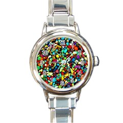 Colorful Stones, Nature Round Italian Charm Watches