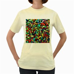 Colorful Stones, Nature Women s Yellow T Shirt
