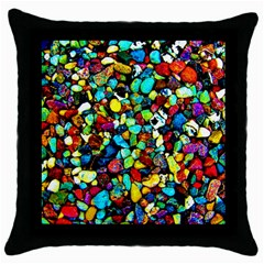 Colorful Stones, Nature Throw Pillow Cases (black) by Costasonlineshop