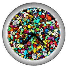Colorful Stones, Nature Wall Clocks (silver)