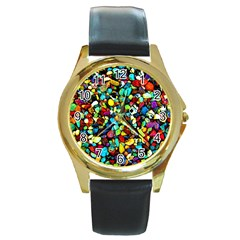 Colorful Stones, Nature Round Gold Metal Watches by Costasonlineshop