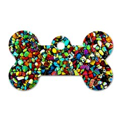 Colorful Stones, Nature Dog Tag Bone (one Side)