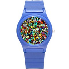 Colorful Stones, Nature Round Plastic Sport Watch (s) by Costasonlineshop