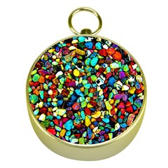Colorful Stones, Nature Gold Compasses by Costasonlineshop