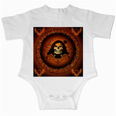 Awsome Skull With Roses And Floral Elements Infant Creepers