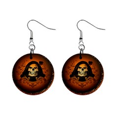 Awsome Skull With Roses And Floral Elements Mini Button Earrings by FantasyWorld7