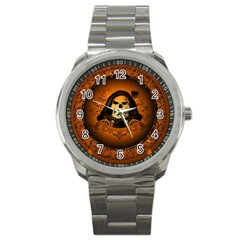 Awsome Skull With Roses And Floral Elements Sport Metal Watches by FantasyWorld7