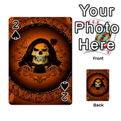 Awsome Skull With Roses And Floral Elements Playing Cards 54 Designs