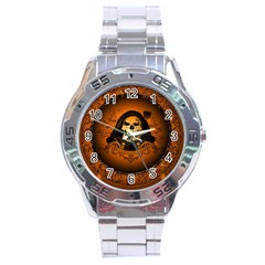 Awsome Skull With Roses And Floral Elements Stainless Steel Men s Watch by FantasyWorld7