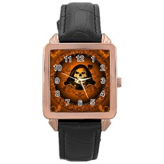 Awsome Skull With Roses And Floral Elements Rose Gold Watches by FantasyWorld7