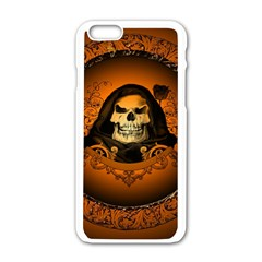 Awsome Skull With Roses And Floral Elements Apple Iphone 6/6s White Enamel Case by FantasyWorld7