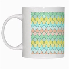 Scallop Repeat Pattern In Miami Pastel Aqua, Pink, Mint And Lemon White Mugs
