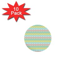 Scallop Repeat Pattern In Miami Pastel Aqua, Pink, Mint And Lemon 1  Mini Buttons (10 Pack)  by PaperandFrill