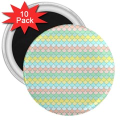 Scallop Repeat Pattern In Miami Pastel Aqua, Pink, Mint And Lemon 3  Magnets (10 Pack)  by PaperandFrill