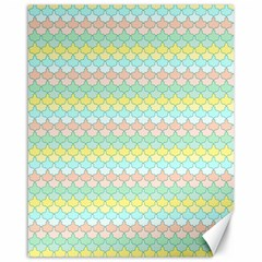 Scallop Repeat Pattern In Miami Pastel Aqua, Pink, Mint And Lemon Canvas 16  X 20   by PaperandFrill