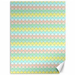 Scallop Repeat Pattern in Miami Pastel Aqua, Pink, Mint and Lemon Canvas 36  x 48   by PaperandFrill
