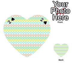 Scallop Repeat Pattern In Miami Pastel Aqua, Pink, Mint And Lemon Playing Cards 54 (heart)