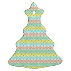 Scallop Repeat Pattern In Miami Pastel Aqua, Pink, Mint And Lemon Christmas Tree Ornament (2 Sides) by PaperandFrill