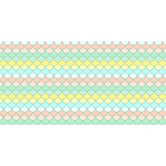 Scallop Repeat Pattern in Miami Pastel Aqua, Pink, Mint and Lemon YOU ARE INVITED 3D Greeting Card (8x4)  by PaperandFrill