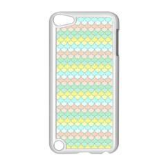 Scallop Repeat Pattern In Miami Pastel Aqua, Pink, Mint And Lemon Apple Ipod Touch 5 Case (white)